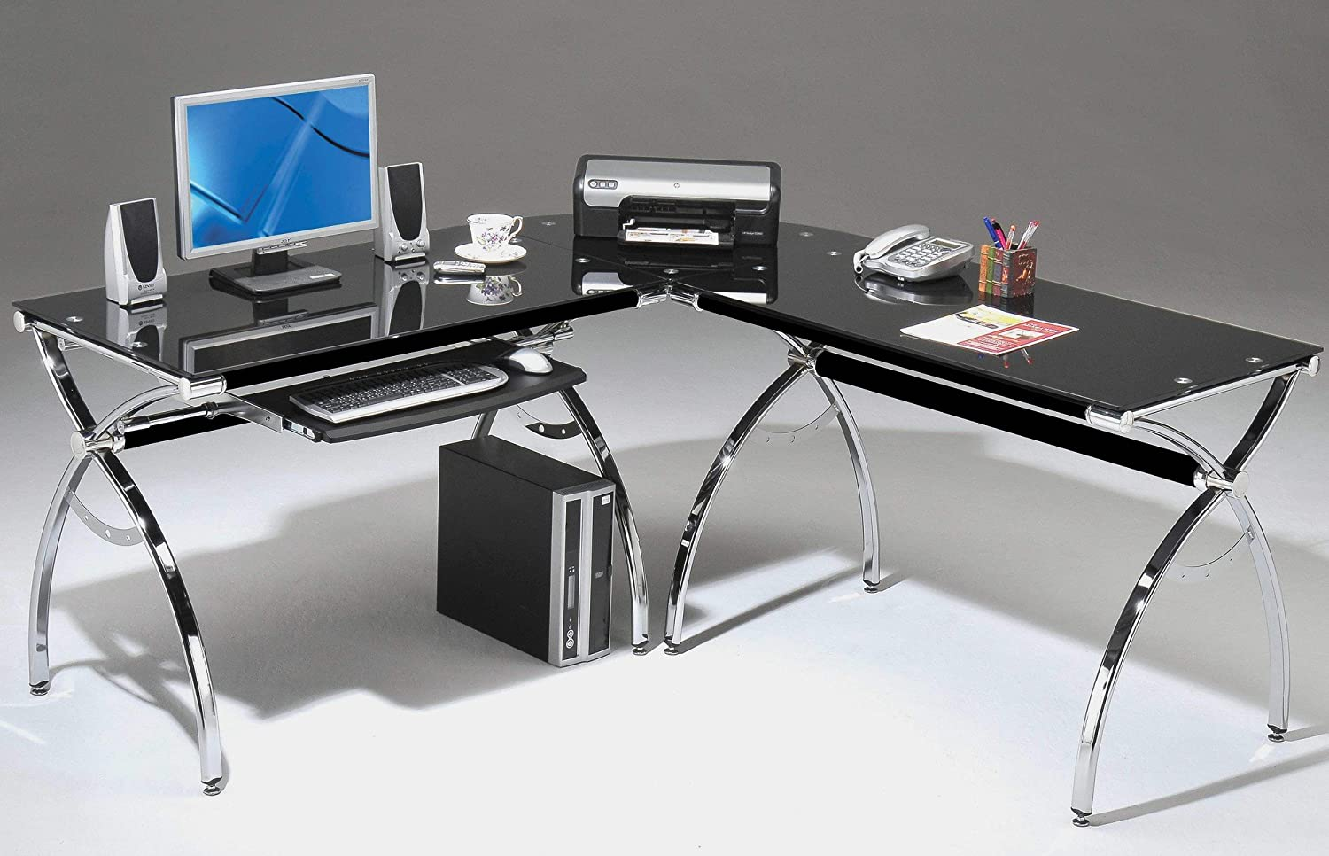 modern glass office desk full. amazoncom corner computer desk black glass lshaped w keyboard tray and workspace contemporary modern niche home office space l shaped nook kitchen u0026 full c