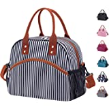 Reusable Large Insulated Durable Cooler Lunch Bag for Women Men Tote Bag with Adjustable Shoulder Strap for Office Work School-White Stripe