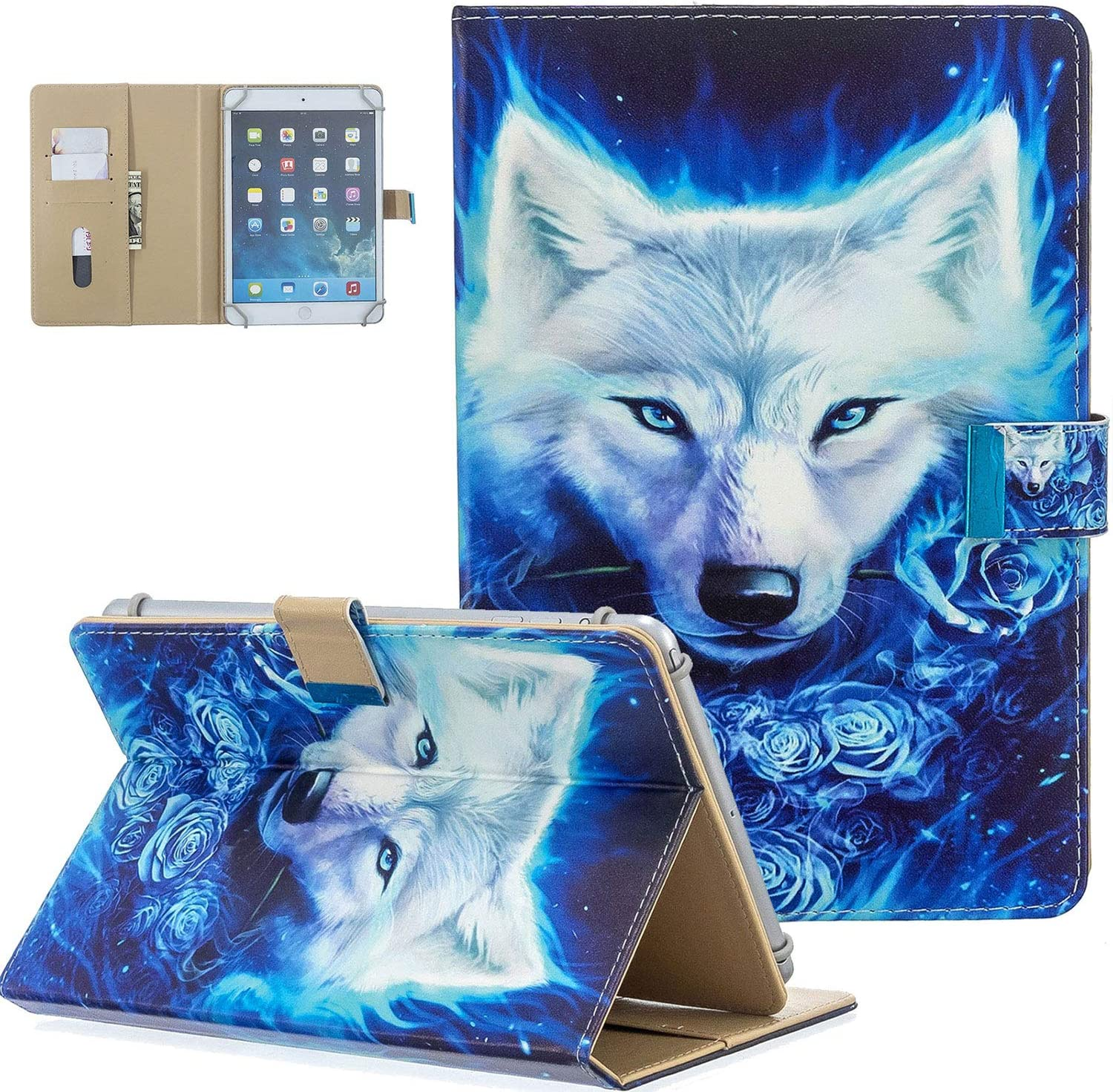 """UGOcase 9.5-10.5 inch Tablet Case, PU Leather Folio Stand Case [Card Slots&Pocket] for Fire HD 10,iPad Air 1/2,iPad 9.7 2017/2018,iPad Pro 9.7/Pro 10.5 & Other 9.5""""-10.5"""" Tablet,White Wolf"""
