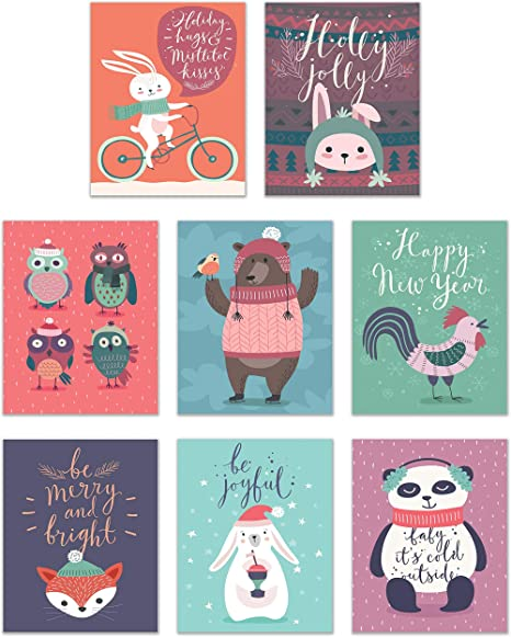 Christmas Animal Poster Prints Set Of 8 8x10 Festive Merry Winter New Year Wall Art Decor Panda Bunny Fox Bear Rooster Owl Posters Prints