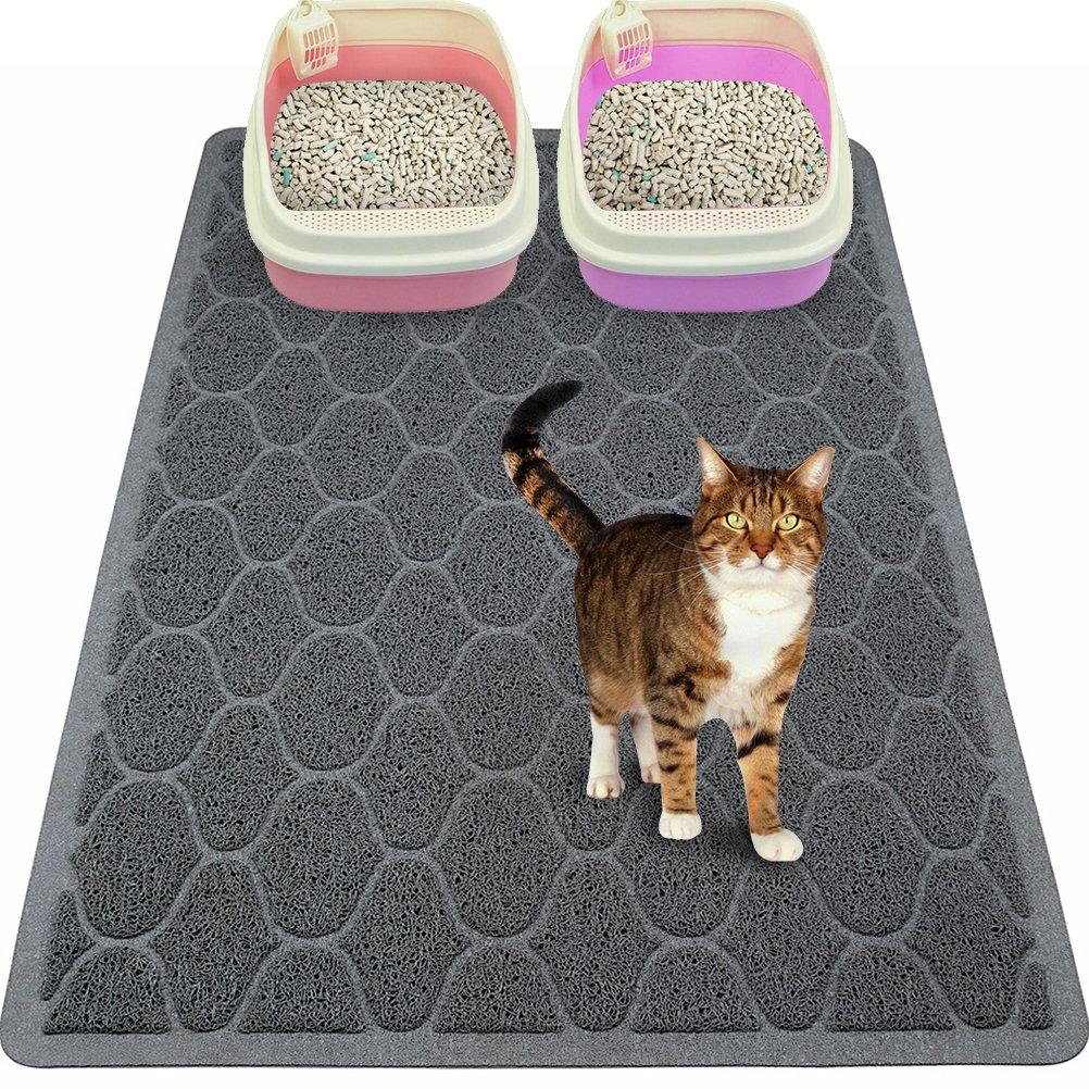 Mihachi Cat Litter Mat - 35''x23'' Kitty Litter Trapping Mats,Litter Lock Mesh,Phthalate & BPA Free,Extra Large,Grey