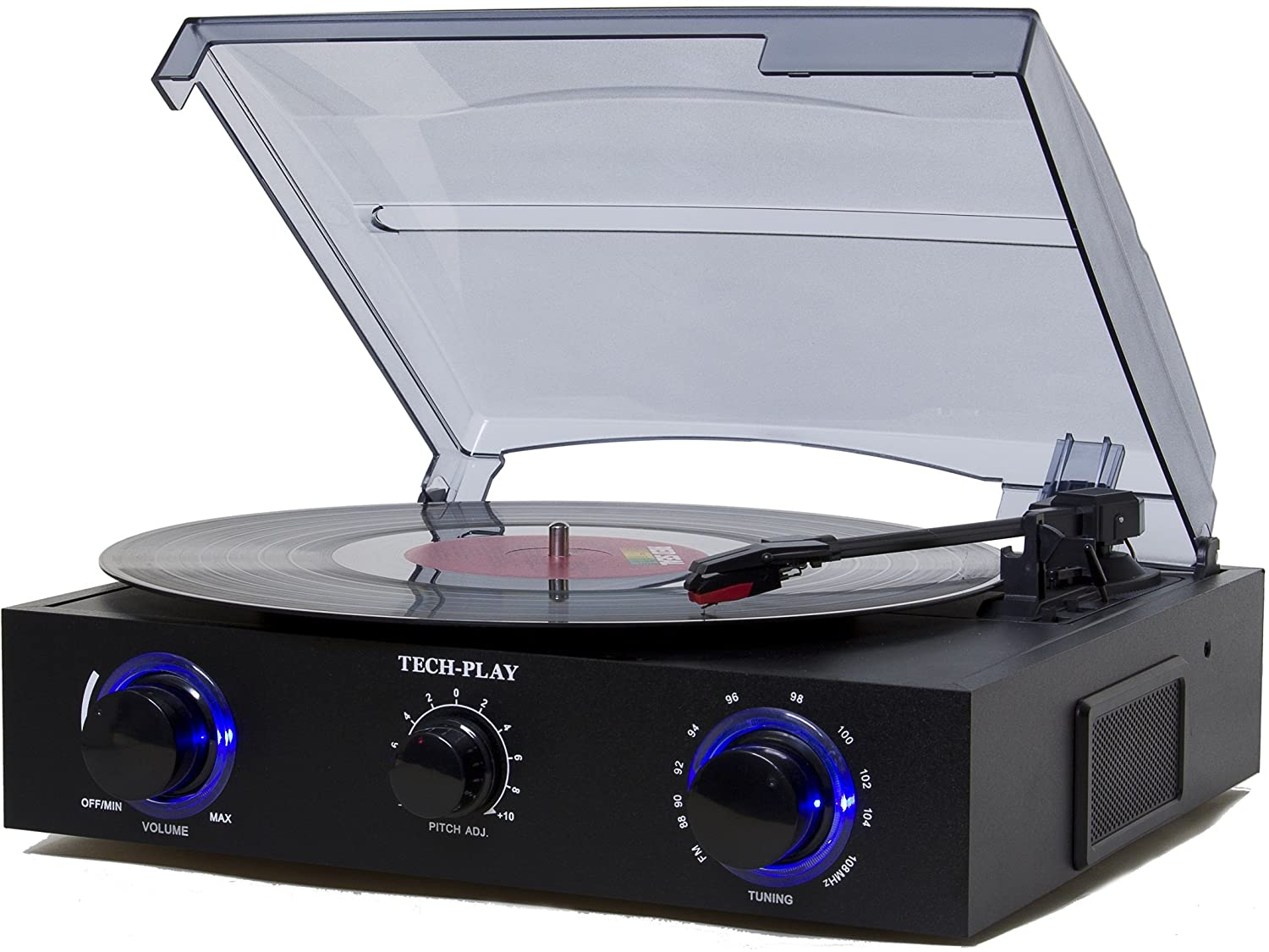Amazon.com: TechPlay TCP2 BK, 3 Speed (33, 45, 78 RPM)turntable With Pitch  Control, FM Radio, RCA Out Jacks, Headphone Jack, And Built In Stereo  Speakers.