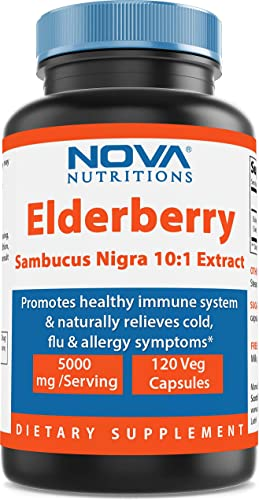 Nova Nutritions Elderberry Sambucus Nigra 10 1 Extract, 5000mg Equivalent, 120 Veg Capsules – Naturally relives Cold, flu Allergy Symptoms – Promotes Healthy Immune System
