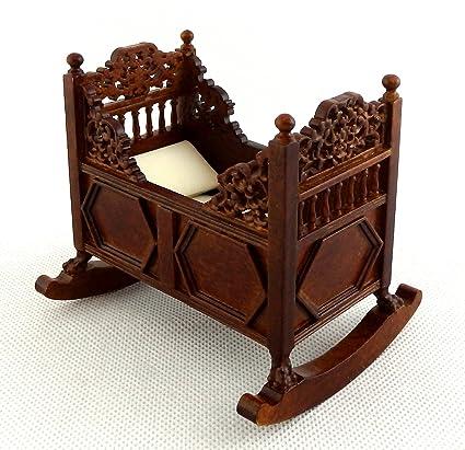 Melody Jane Dolls House Walnut Tudor Rocking Cradle Cot Crib Fine Quality Nursery  Furniture