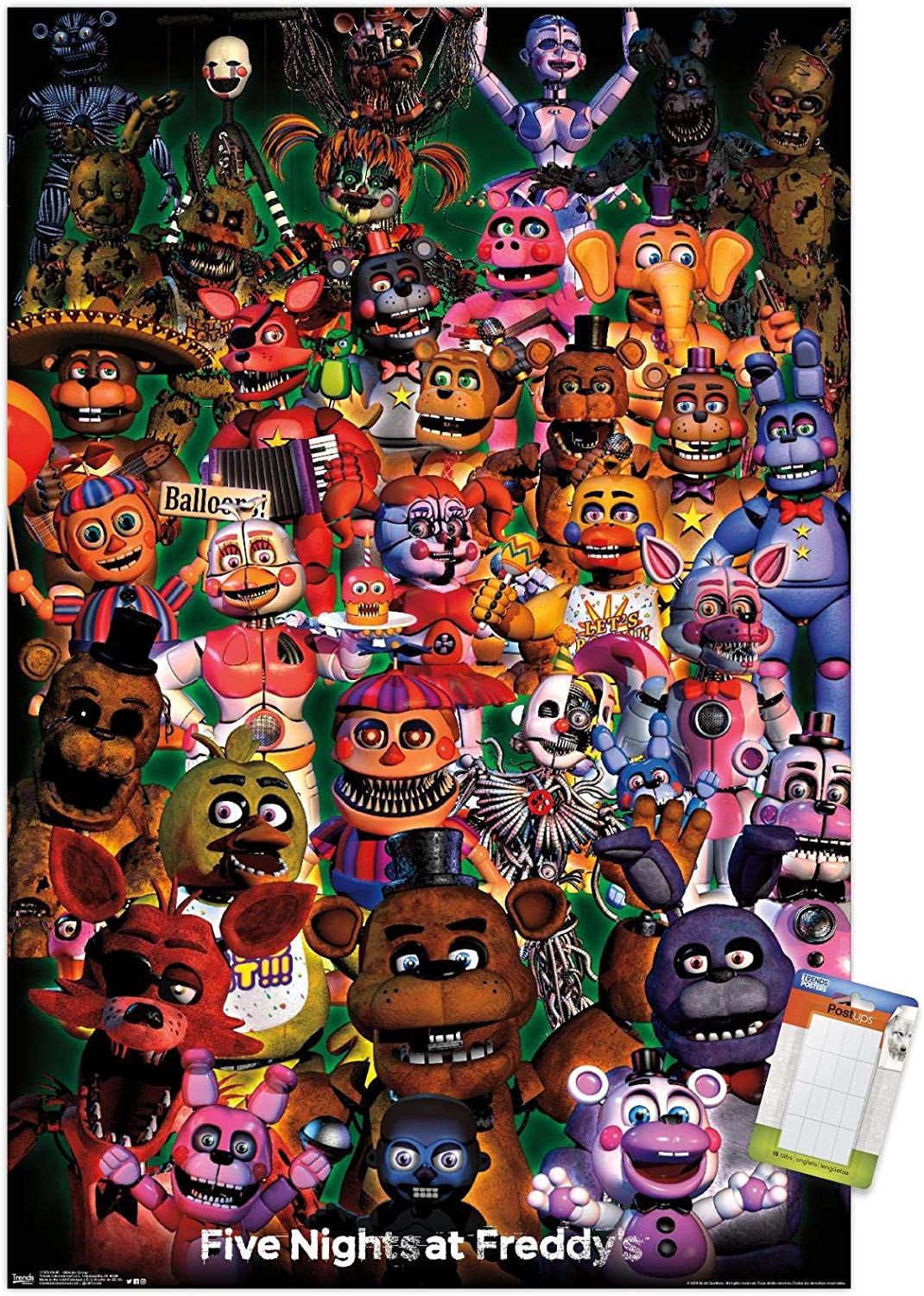 "Trends International Five Nights at Freddy's-Ultimate Group Mount Wall Poster, 22.375"" x 34"", Poster & Mount Bundle"