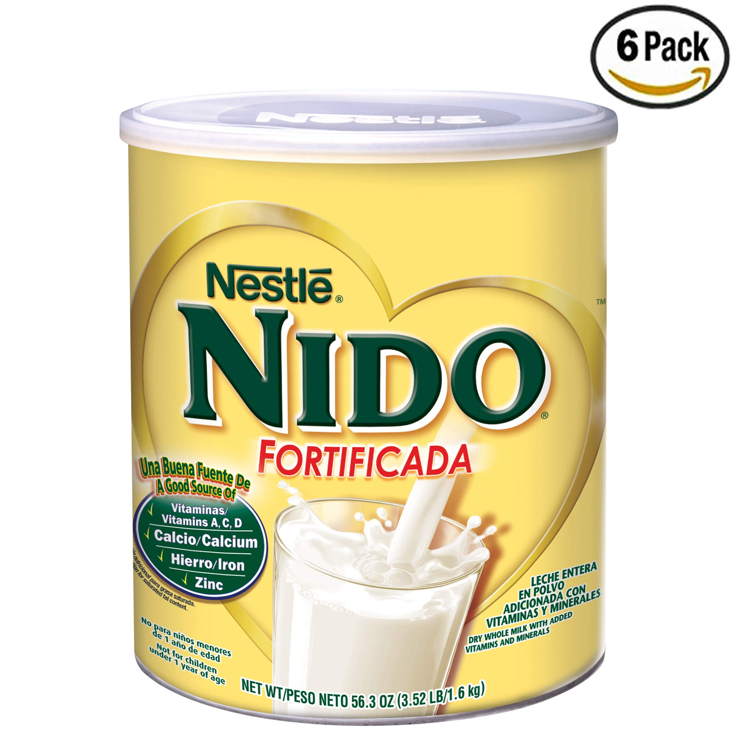 NIDO Fortificada Dry Milk 56.3 oz. Canister, Pack of 6