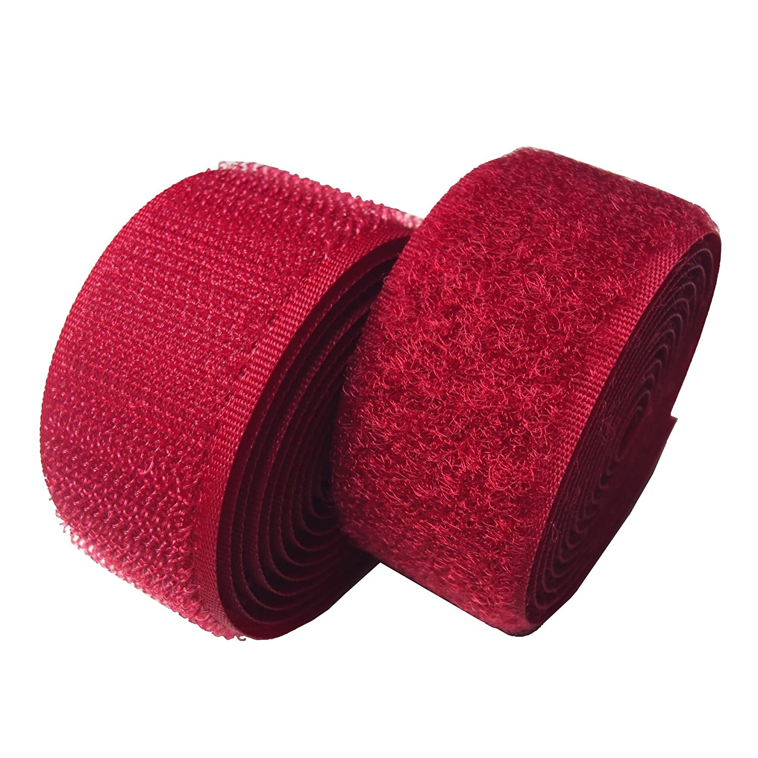 Lovetex 2 (50mm) Red Sew on Hook and Loop Fastener Tape 5 Pair Yards