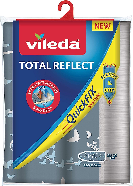 Vileda Total Reflect - Funda de planchar, metálica: refleja el vapor sobre la ropa; para un planchado extra rápido, ajustable, medidas: 120–130 x 38-45 cm, color gris