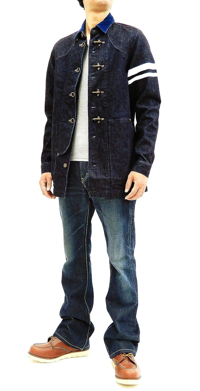 d7102b8f45 Momotaro Jeans Men's Slim Fit Denim Fireman Coat Jacket with Stripe ...