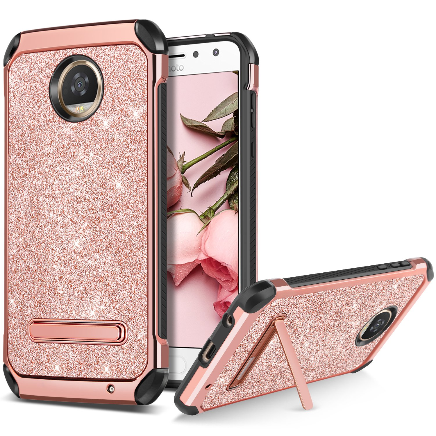 BENTOBEN Moto Z2 Play Case Kicckstand Slim Dual Layer Shockproof Soft TPU Bumper Hybrid Hard PC Cover with Luxury Glitter Faux Leather Rugged ...