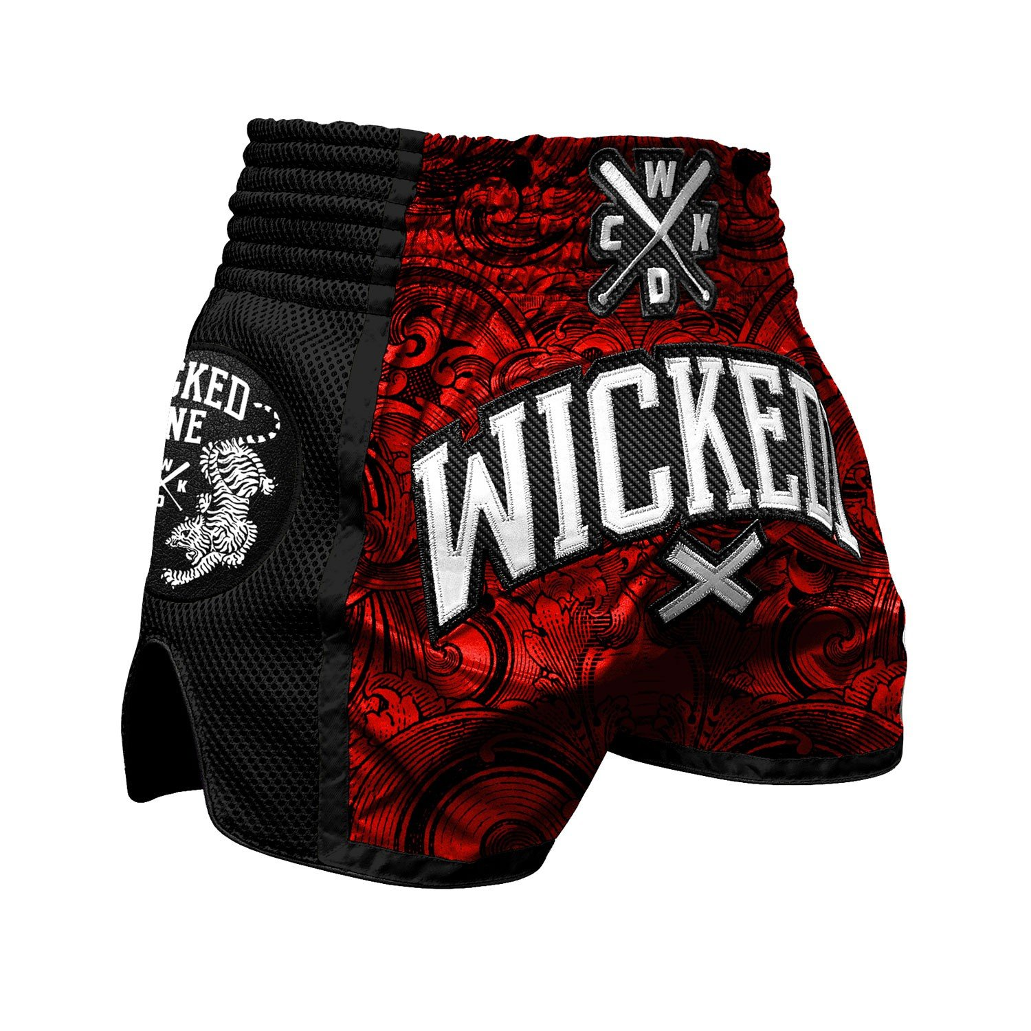 wicked One Muay Thai Short Rude – Rouge/Noir – Muay Thai Boxe Thaï Traditionnellement Short Box Pantalon Thai