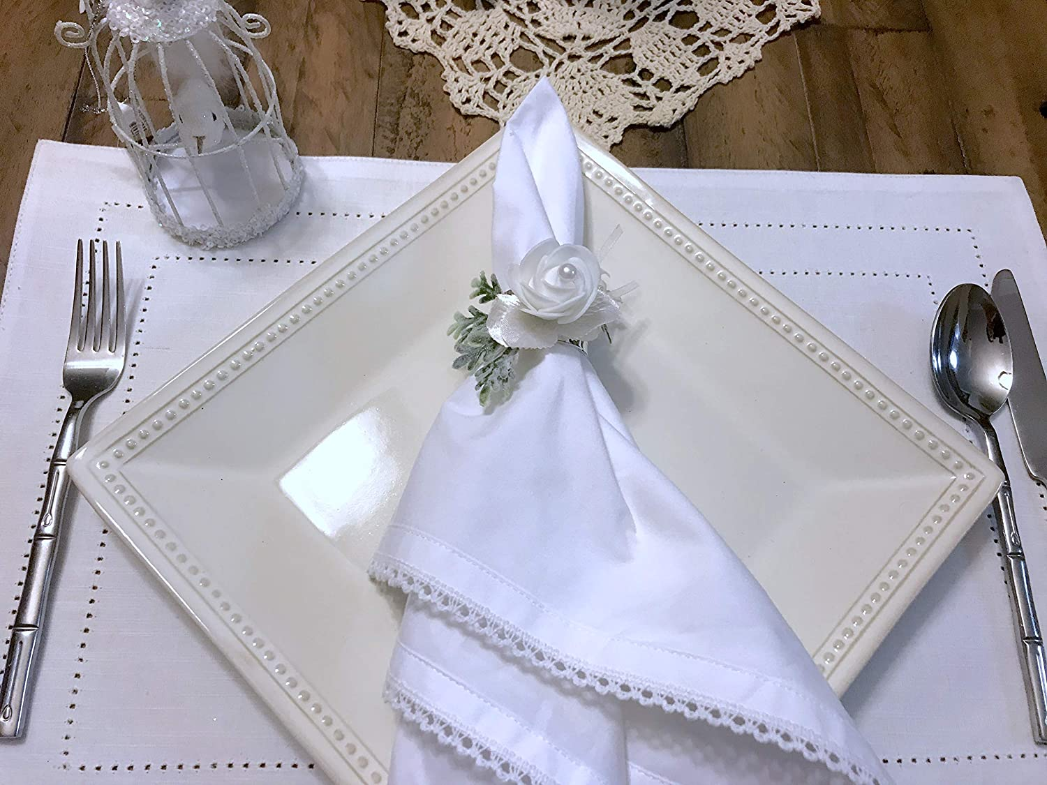 SET OF 6 NAPKIN RINGS Traditional White and Pearl Wedding Napkin rings Elegant White floral and Greenery Wedding Napkin Ring