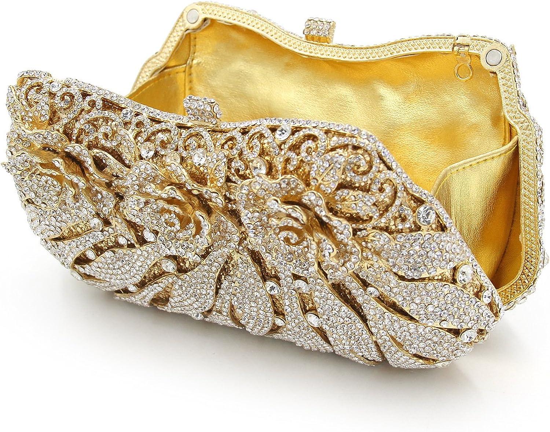 ABage Womens Clutch Handbag Crystal Rhinestone Prom Wedding Clutch Evening Bags