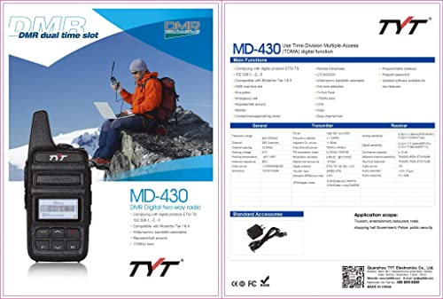 TYT MD-430 UHF 400-470 Mhz 2 Watts DMR Analog Compact Two Way Radio with 2 x 3600 mAh Li-Ion Battery Shipped from US only