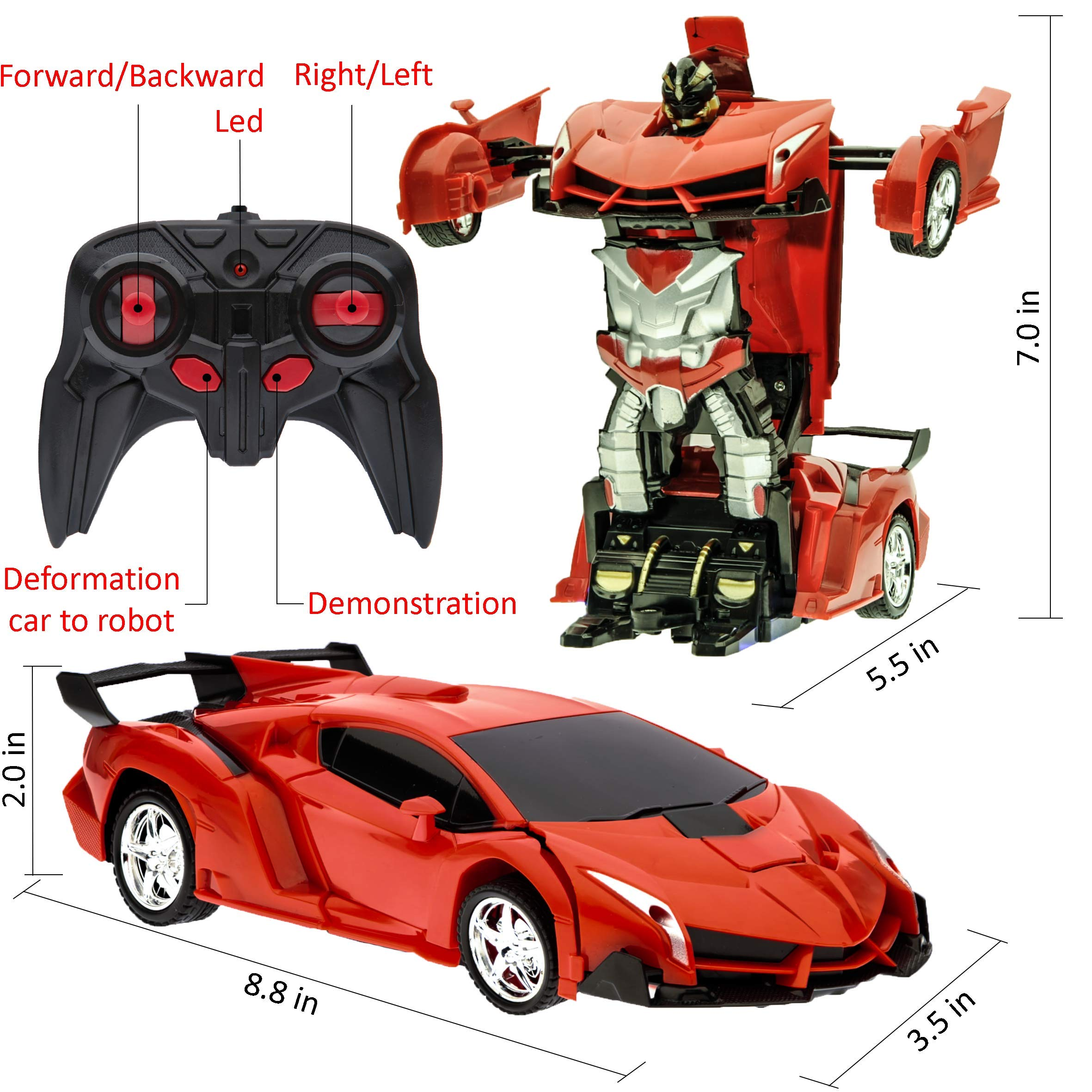 Transformer Car to Robot Toy for Kids Remote Controller Transformation Model One button Deformation to Robot for Boys Children, RC Transform 360° Rotating with LED Speed Drifting 1:18 Scale (Red) by Wessy (Image #2)