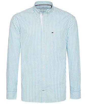 af880ea8 Tommy Hilfiger Men's Regular Fit Striped Oxford Shirt Aqua: Amazon.co.uk:  Clothing
