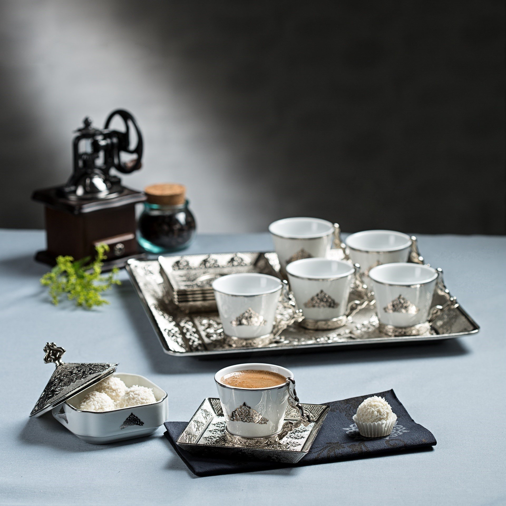 Gold Case Silver Plated Turkish, Arabic, Greek and Espresso Coffee Set for 6 - Made in Turkey - 21 Pieced Set for 6, Silver