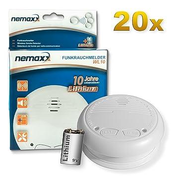 20x Nemaxx WL10 Detector de Humo inalámbrico - con 10 años de batería de lítio- de Acuerdo con la Norma DIN EN 14604: Amazon.es: Bricolaje y herramientas