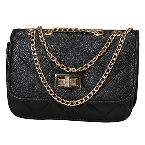 37a372b2a170 HDE Women s Small Crossbody Handbag Purse Bag with Chain Shoulder Strap  (Black)