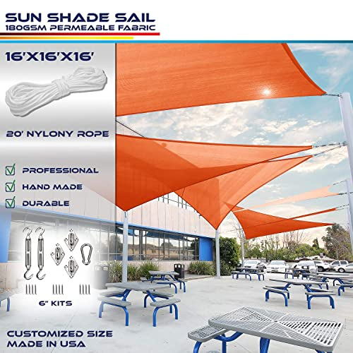 Windscreen4less 16 x 16 x 16 Equilateral Triangle Sun Shade Sail with 6 inch Hardware Kit – Orange Durable UV Shelter Canopy for Patio Outdoor Backyard – Custom