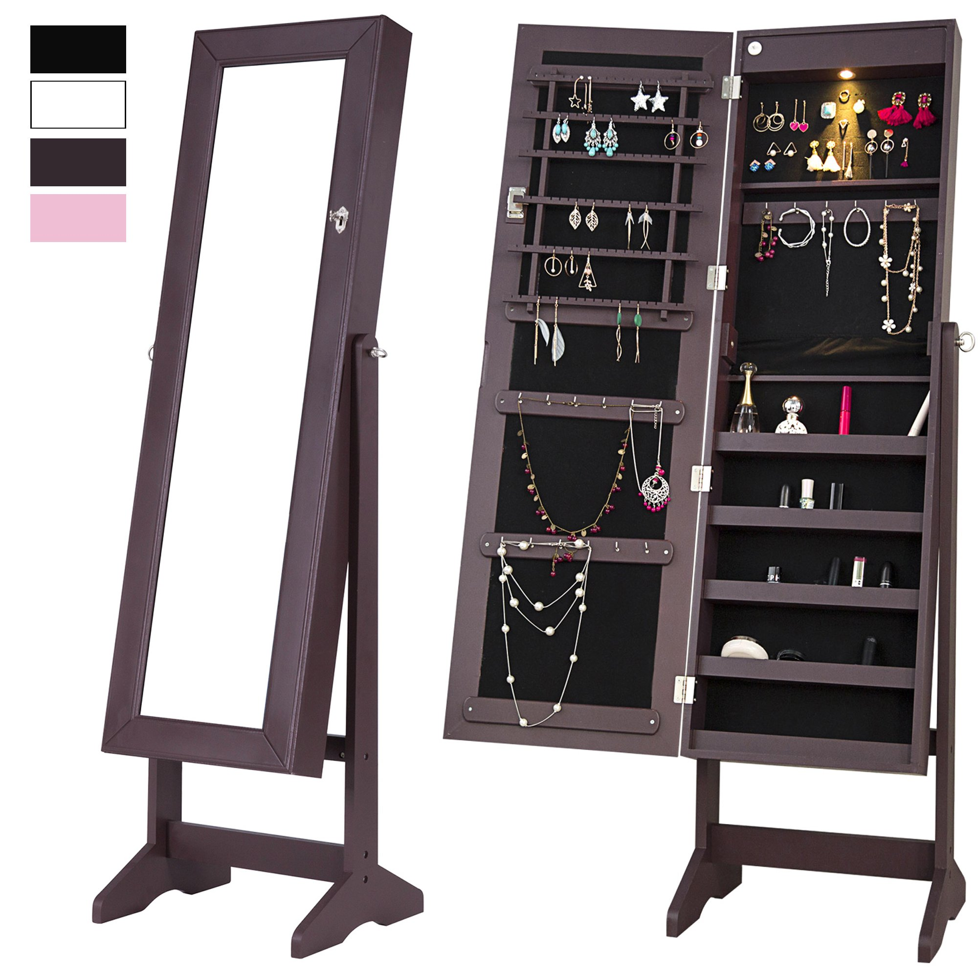 Cloud Mountain Mirrored Jewelry Cabinet Free-Standing Lockable Jewelry Armoire Full Length Floor Tilting Jewelry Organizer with LED Light, Espresso