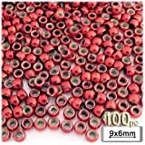 The Crafts Outlet 100-Piece Plastic Round Opaque Pony Beads, 9 by 6mm, Christmas Red