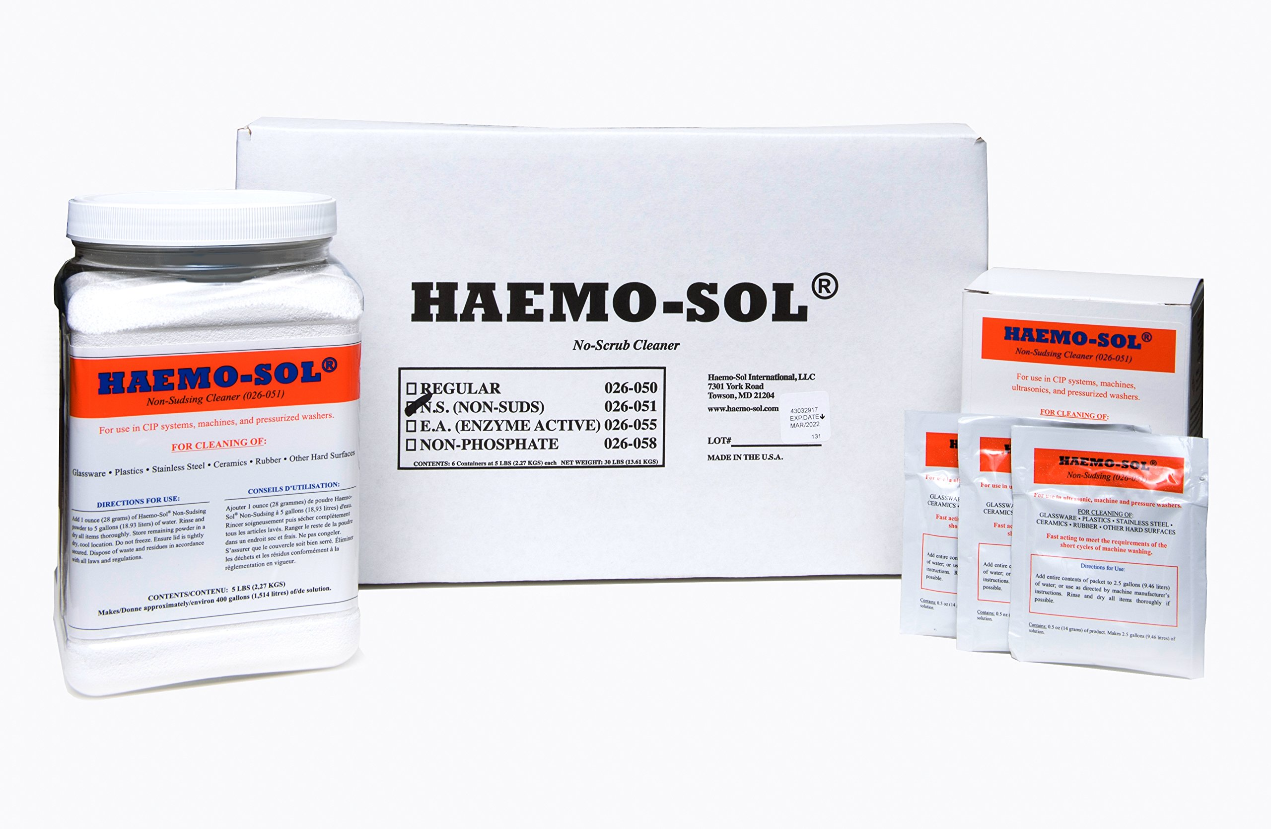 HAEMO-SOL 026-051CN Non-Sudsing Detergent for Mechanized Cleaning Systems, 5 lb by HAEMO-SOL (Image #1)