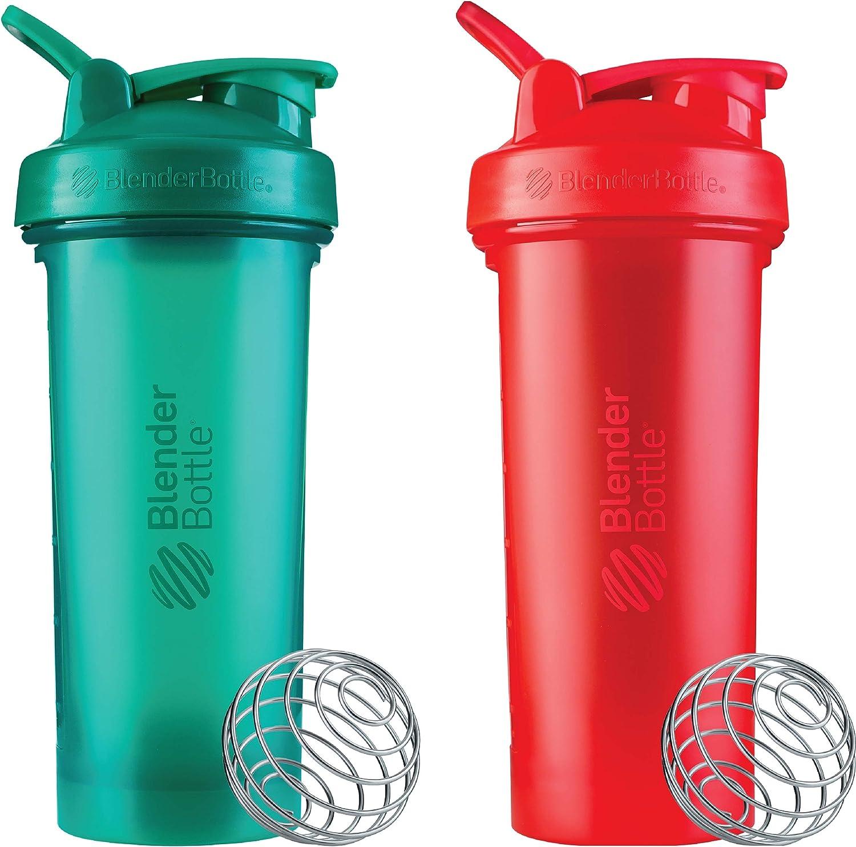 BlenderBottle Classic V2 28-Ounce Shaker Bottle, 2-Pack: Red and Green