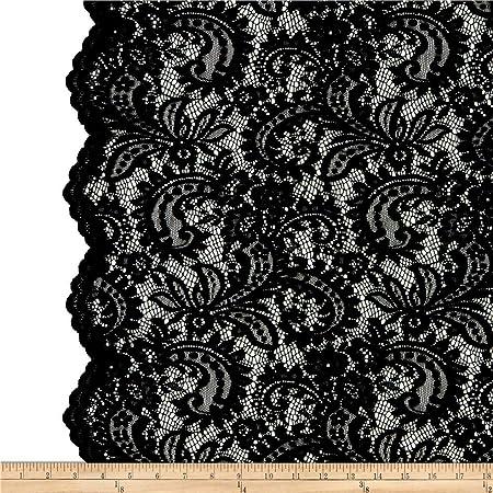 "Tela de encaje negro francés Chantilly Nupcial Boda de Encaje Bordado De Pestañas 118/""//pc"