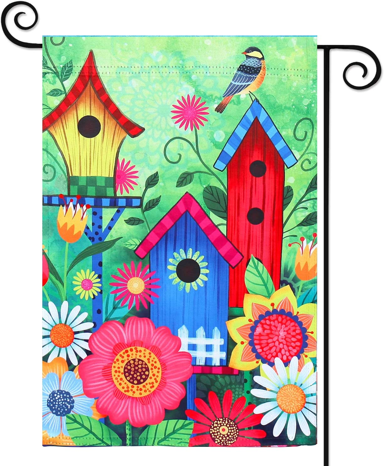 COCJCJ Welcome Bird cage Outdoor Double-Sided Bird House Garden Flag 12X18, White Chrysanthemum, red Chrysanthemum, Small Daisy Home Decoration, Outdoor Lawn Home Decoration.