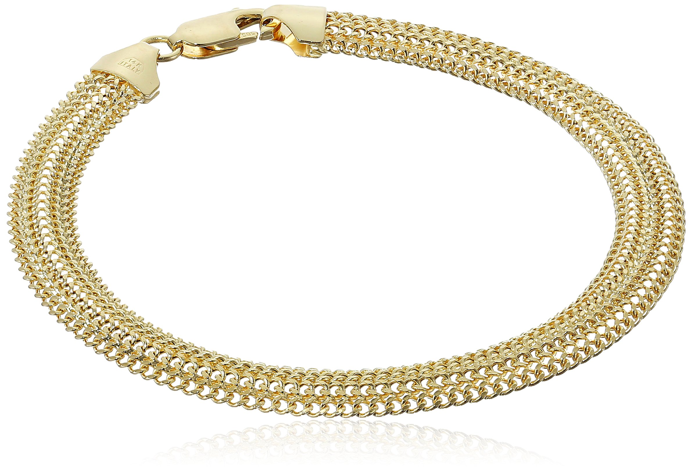 14k Yellow Gold Domed Curb Link Bracelet, 7.5''