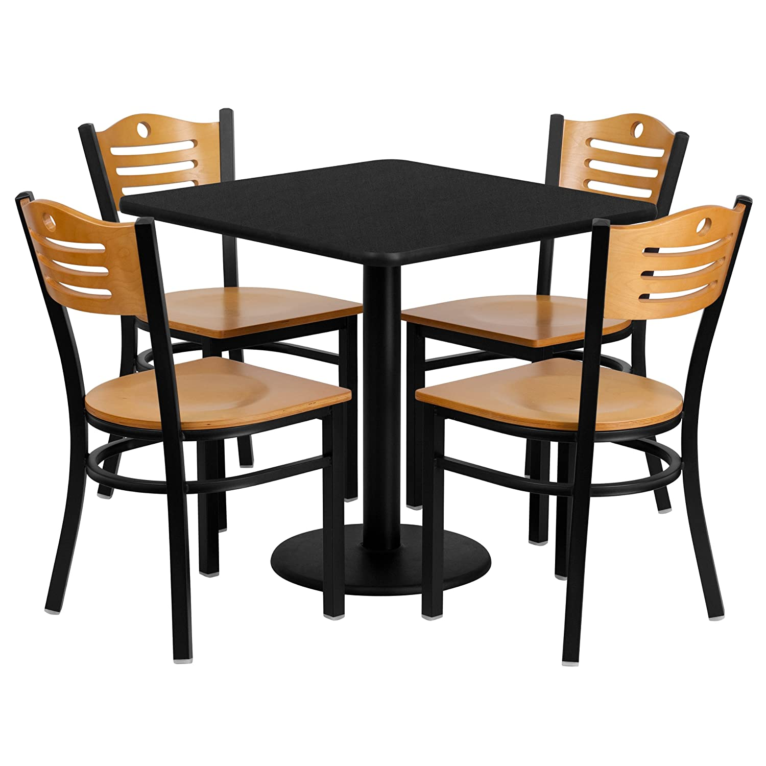 Amazon.com: Flash Furniture 30u0027u0027 Square Black Laminate Table Set With 4  Wood Slat Back Metal Chairs   Natural Wood Seat: Kitchen U0026 Dining Part 61