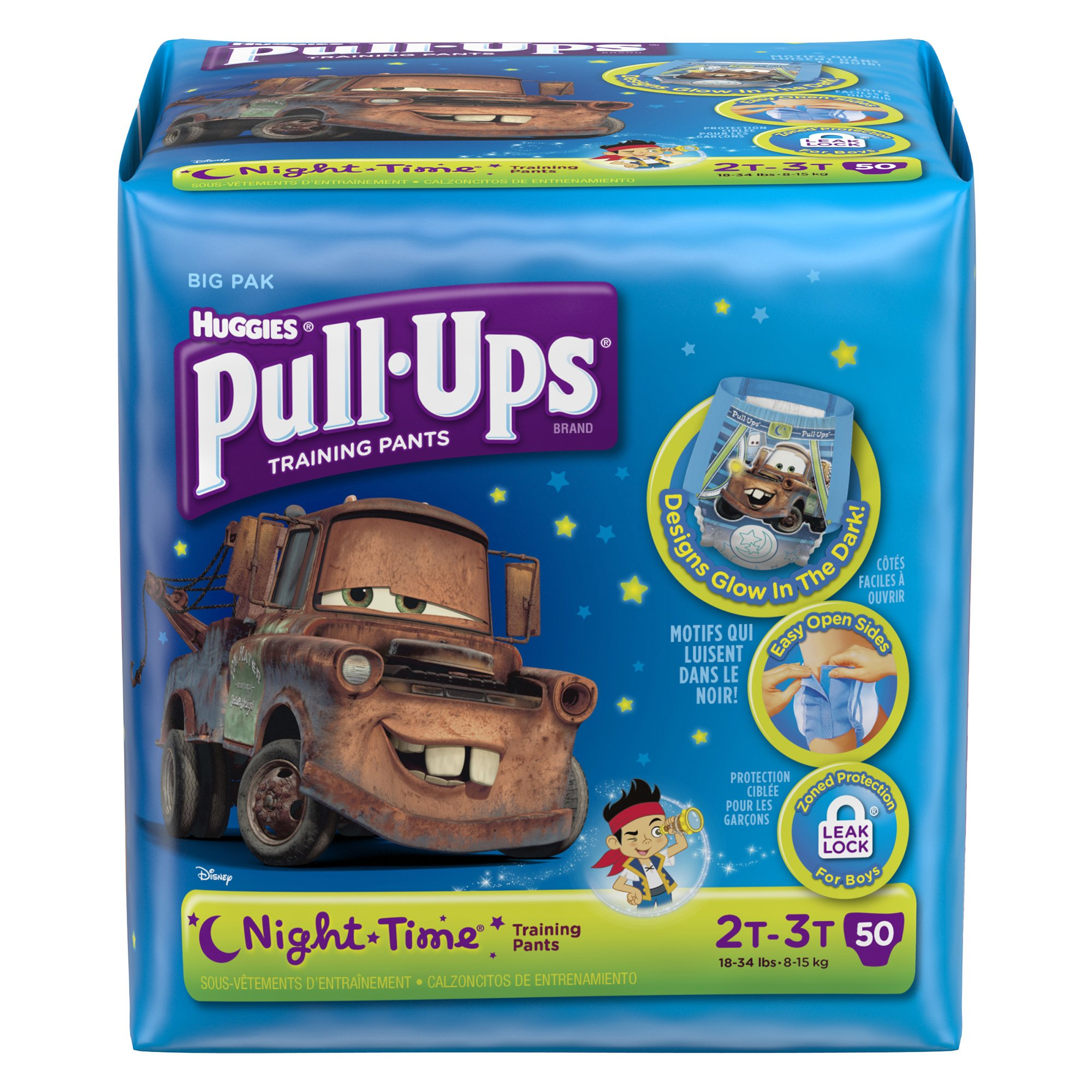 Huggies Pull-Ups Night Time Training Pants for Boys, 2T-3T, 48 Count (Pack of 2)