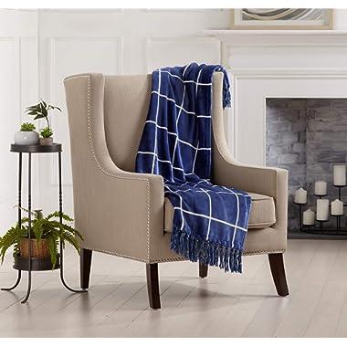 Home Fashion Designs Orleans Collection Ultra Velvet Plush Super Soft Blanket. Lightweight, Warm, Printed Window Pane Throw Blanket with Decorative Fringe Brand. (Navy/White)