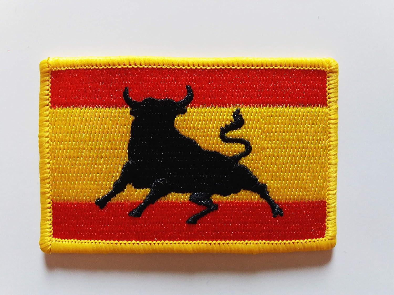 Bandera España con toro. Parche termo adhesivo para prendas ...