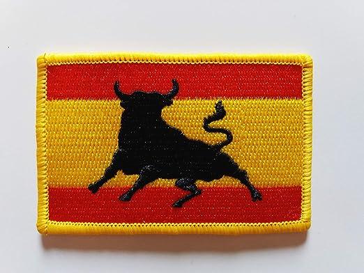 Bandera España con toro. Parche termo adhesivo para prendas.: Amazon.es: Hogar