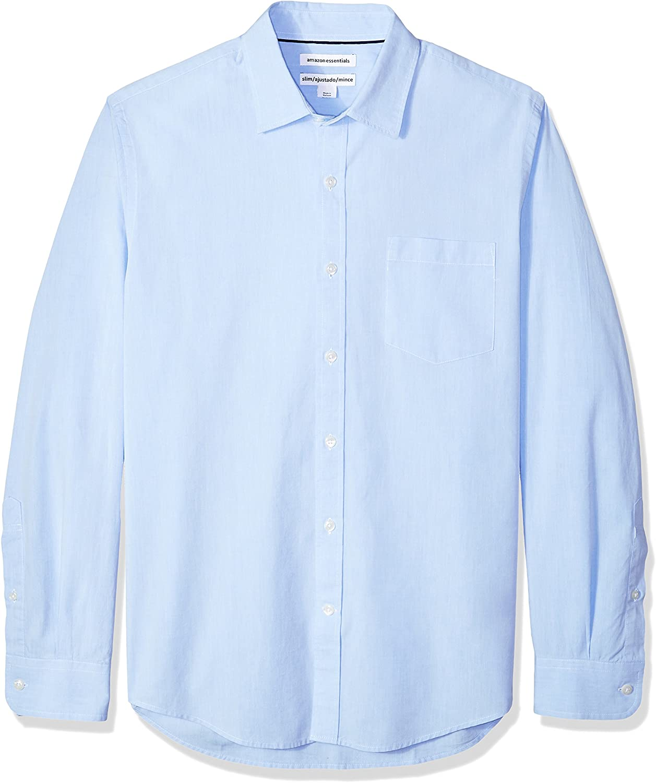 Amazon Essentials Men's Slim-Fit Long-Sleeve Solid Casual Poplin Shirt
