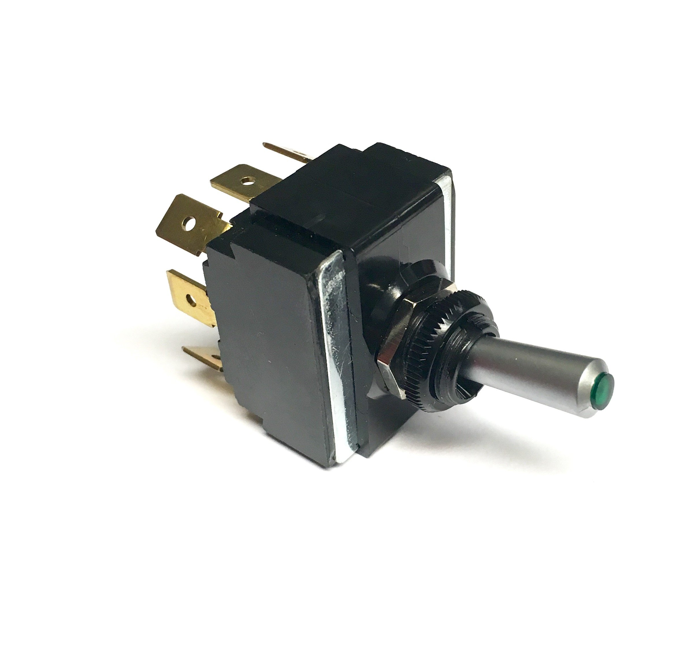 Toggle Switch (ON)/OFF/(ON), DPDT, Lighted Momentary Switch with a Green Lens