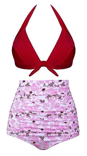 20d88bb864503 Angerella Retro Halter Neck Polka Dot High Waist Bikini Swimsuits   Amazon.co.uk  Clothing