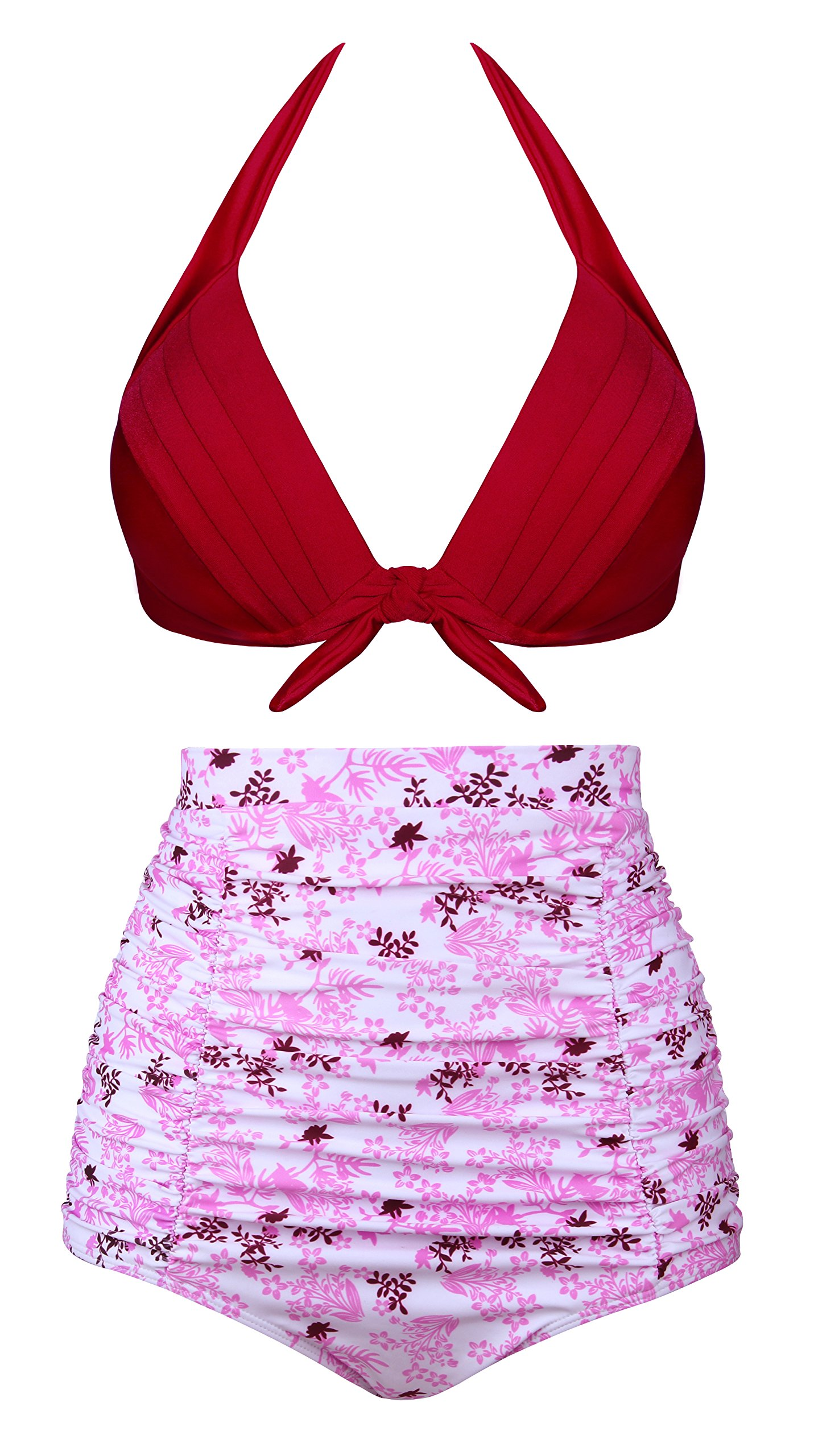 Aixy Women Vintage Two Piece Swimsuits High Waisted Bathing Suits,Pink,2XL