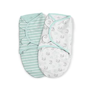 "SwaddleMe Original Organic Swaddle 1-PK, 100% Organic Cotton Adjustable Baby Wrap, Little Rascal, Large (3-6 Months, 14-18 lbs, up to 33"")"