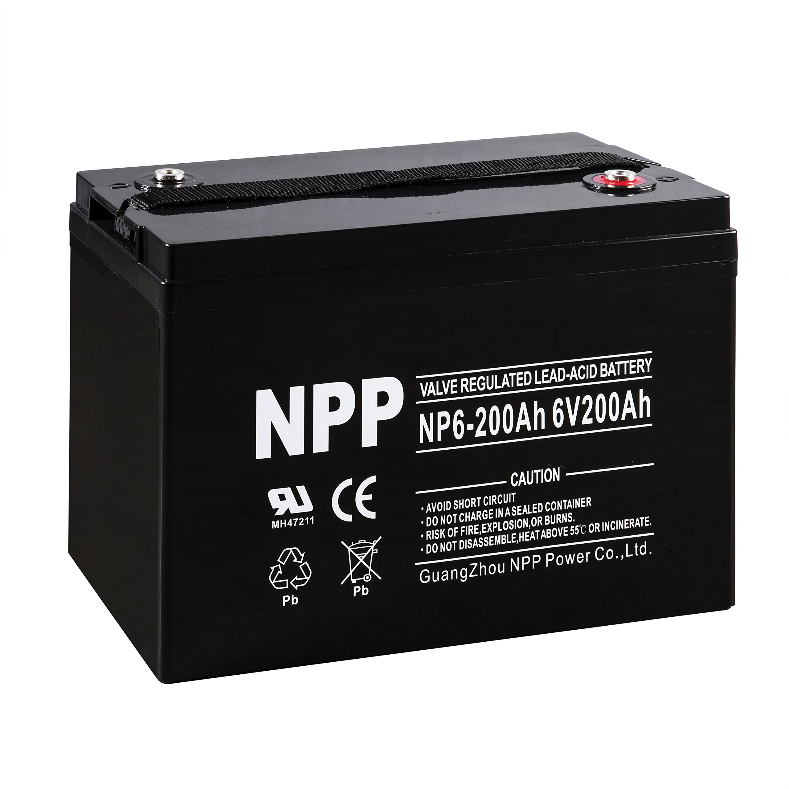 NPP 6V 200 Amp NP6 200Ah AGM Deep Cycle Camper Golf Cart RV Boat Solar Wind Battery by NPP