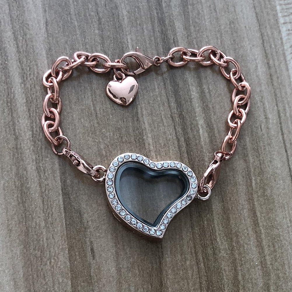 Stainless Steel Rhinestone Living Memory Love Heart Floating Charms Glass Locket Bracelet