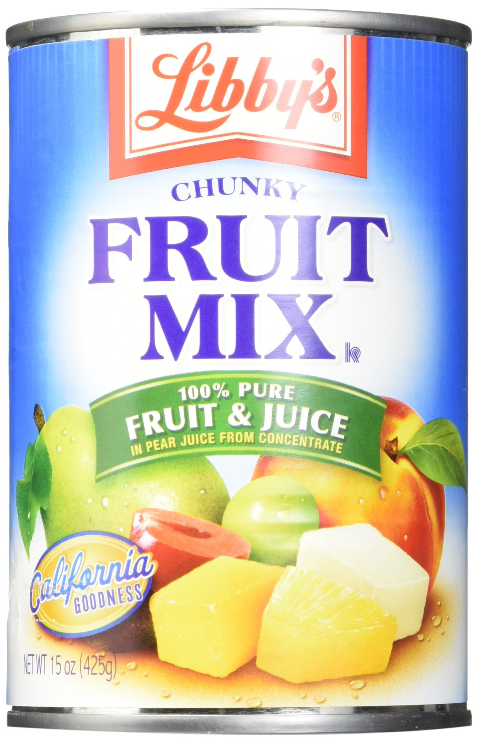 Libby's Fruit Mix Chunky In Pear Juices Concentrate Cans, 15 Ounce (Pack of 12)