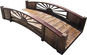 SamsGazebos Sunburst Wood Garden Bridge, 6', Brown
