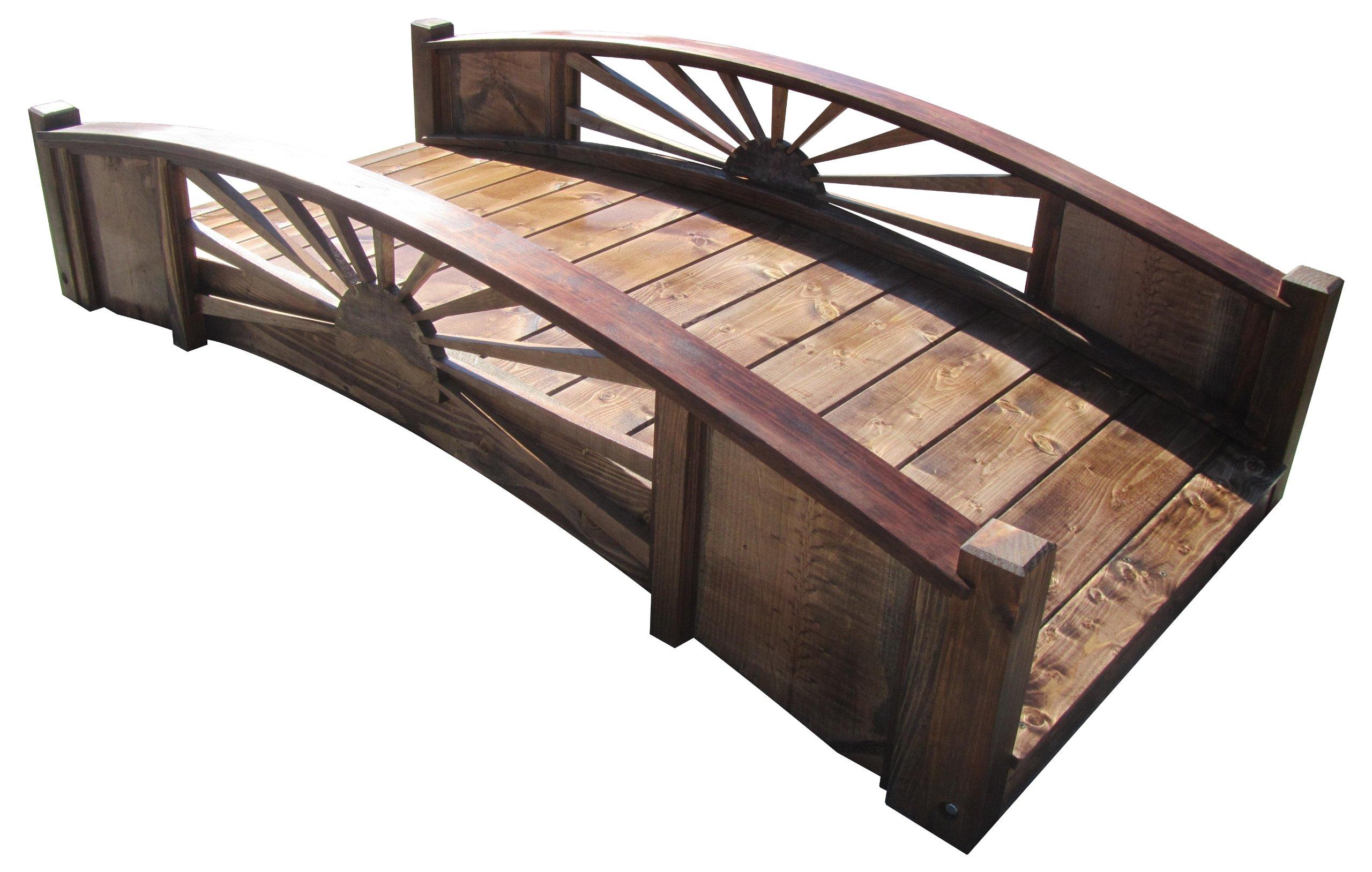 SamsGazebos Sunburst Wood Garden Bridge, 6-Feet, Brown