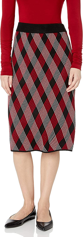 Anne Klein Women's Knit Plaid Pencil Skirt