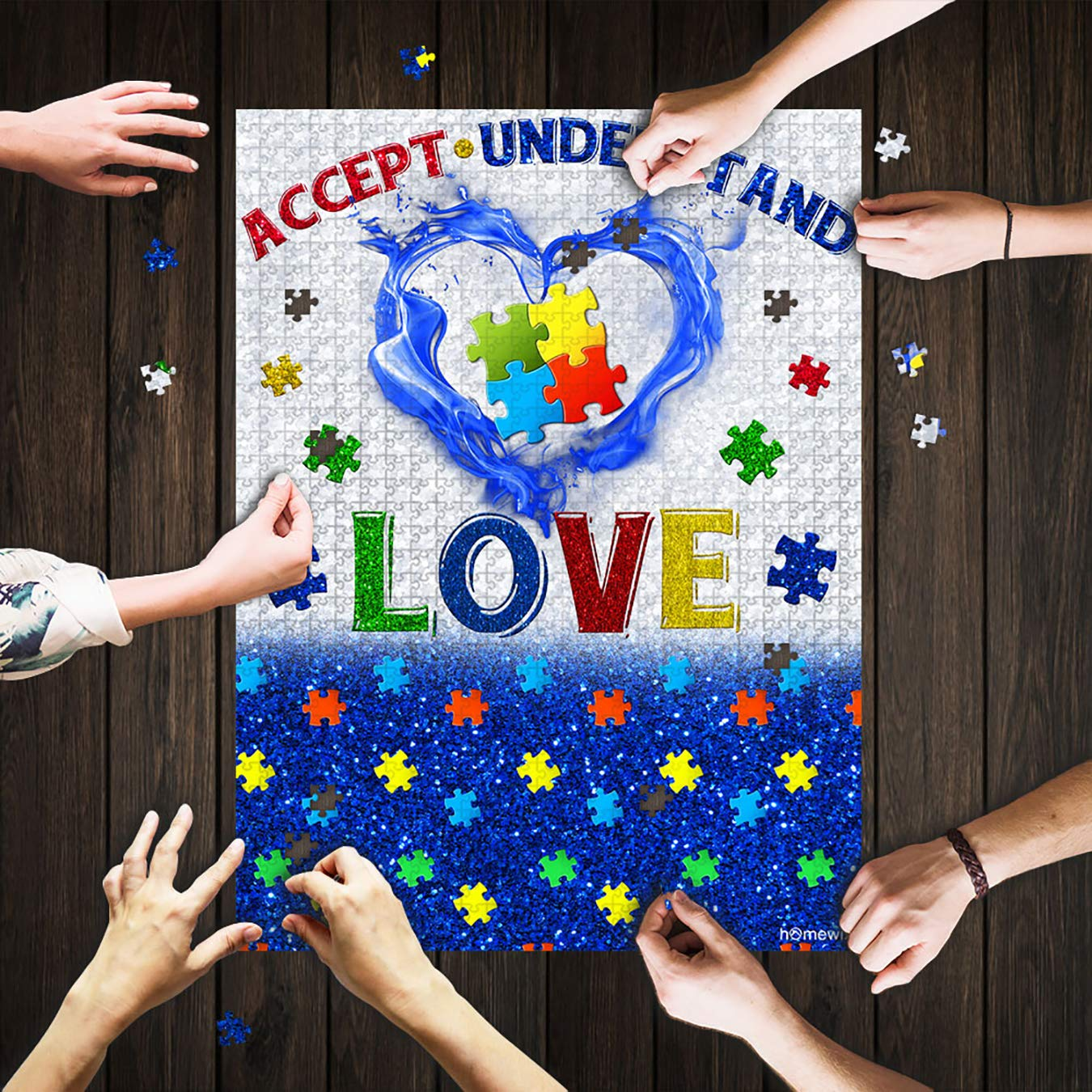 Funny Gifts Games for Adults /& Children Accept Understand Love Autism Jigsaw Puzzle 192 Pieces Puzzle Mat Adult Puzzles Mod Podge