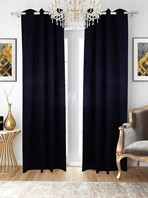Amazon Com The Art Box Indian Blackout Curtains Panels For Bedroom Home Room Window Treatment Thermal Insulated Solid Grommet Blackout Drapes For Living Room Blue 42 X90 Home Kitchen