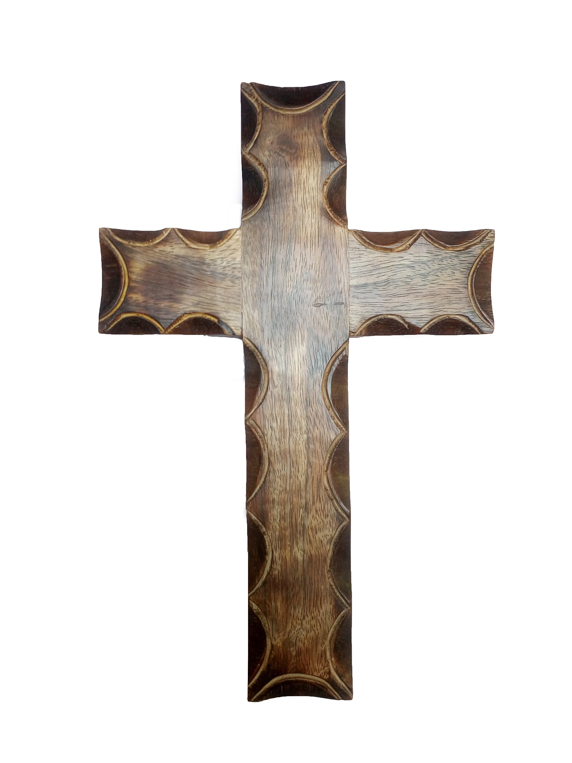 Hind Handicrafts Antique Mango Wood Hand Crafted Wall Mounted Holy Cross By (12 x 8 inch) (Wooden Engraved) (Hardwood)
